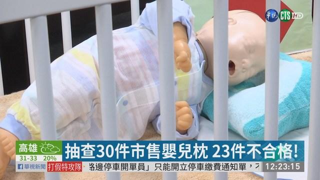 抽查30件市售嬰兒枕 23件不合格!  