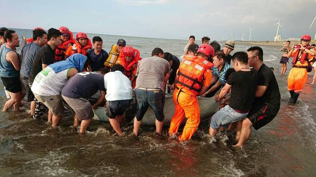 700公斤鯨豚桃園海岸擱淺 搶救後仍不治 | 熱心民眾齊力搬運鯨豚。(海巡署提供)