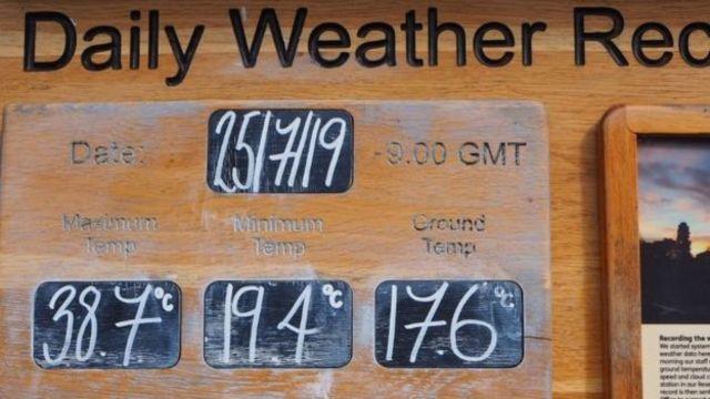 熱爆了!英國劍橋飆上38.7°C 創下史上最高溫 | 植物園的一塊木板顯示出破紀錄的溫度。(翻攝自BBC)