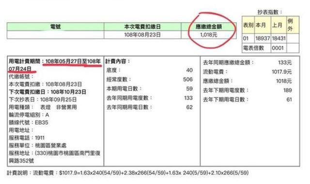 一位網友實測冷氣從5月27日一直開到7月24日,應繳金額為1018元。(翻攝自爆廢公社)