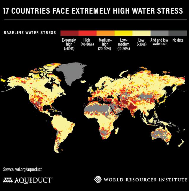 各國缺水壓力風險圖。(翻攝自World Resources Institute官網)