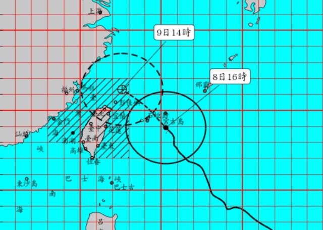 利奇馬颱風的路線近逼台灣東北角。(氣象局提供)