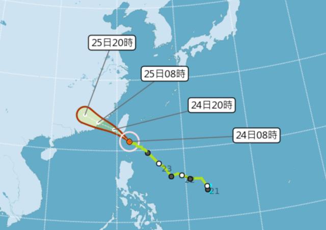 颱風「白鹿」持續朝西北方向進行。(氣象局提供)