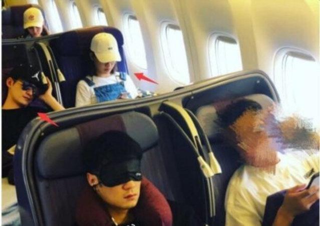 網友爆料張鈞甯和張翰一同搭機,遭反駁並非當事人。(翻攝自微博)
