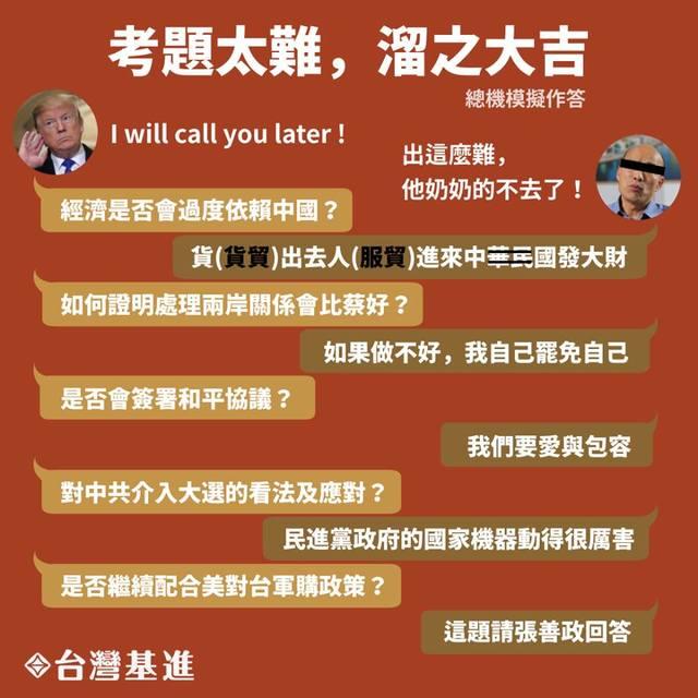 訪美5題目早就給了?基進黨酸韓國瑜「像棄答的考生」 | (翻攝基進黨臉書)
