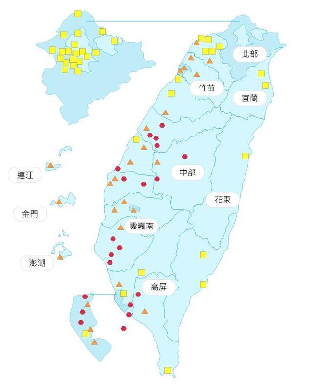 全台空氣指標,中南部空氣品質較差/圖取自行政院環保署空氣品質監測網