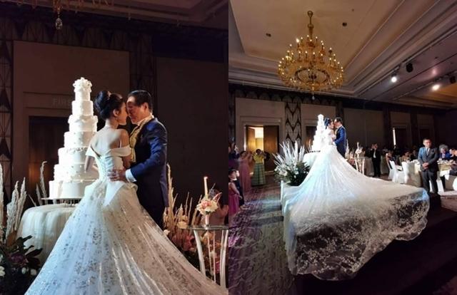 新娘的白紗甚至可以覆蓋半個舞台。(翻攝บิ๊กเกรียน臉書)