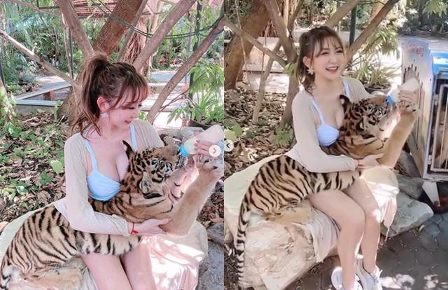 溫蒂抱著小老虎餵奶。(翻攝溫蒂IG)