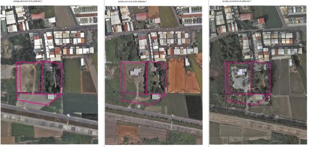 張家青埔豪宅在2013年6月、2016年7月、2018年11月的建物航照圖。