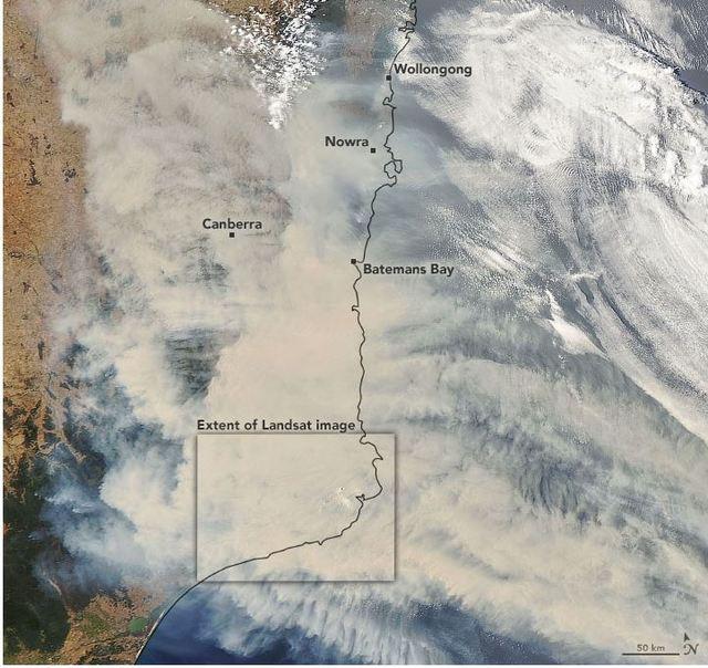 NASA日前發布澳洲最新衛星影像圖。(翻攝自NASA官網)