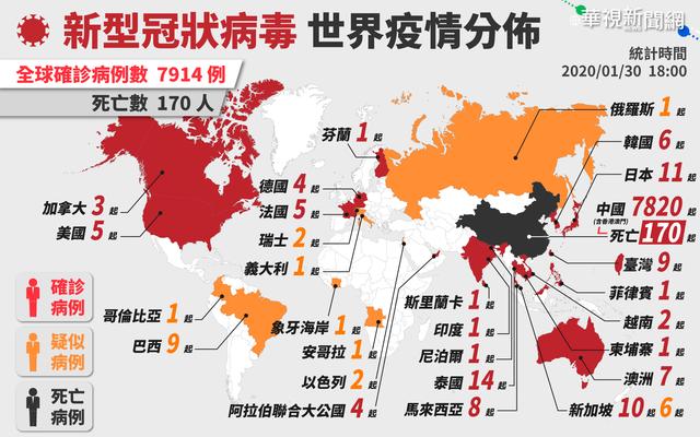 新型冠狀病毒疫情分布世界地圖。