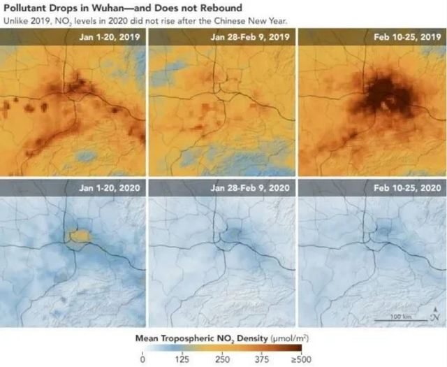 比較2019年武漢的空氣品質變化,能看出差距極大。(NASA提供)