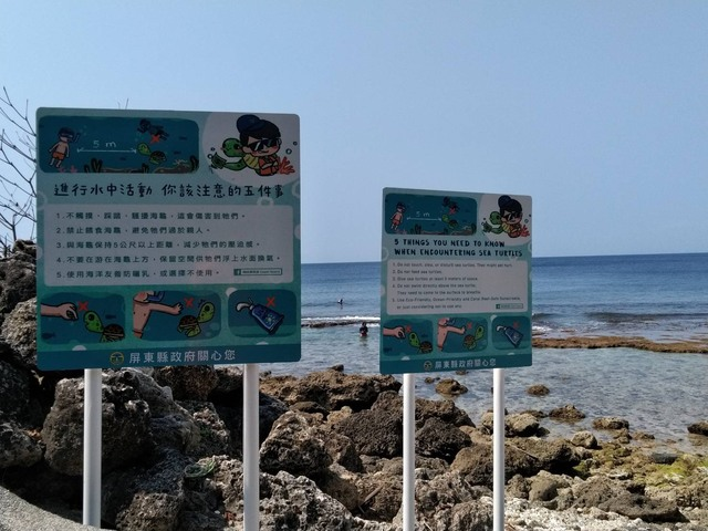 屏東縣政府在海龜出沒海域的岸邊都有豎立不觸摸、不踩踏、不騷擾、禁止餵食海龜的中英文告示牌。(海巡署南部分署提供)