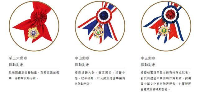 中山勳章也是元首以外象徵最高榮譽的勳章。(翻攝自總統府官網)