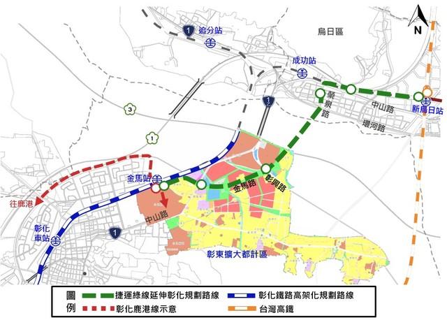 台中捷運延伸彰化路線示意圖。(台中市交通局提供)