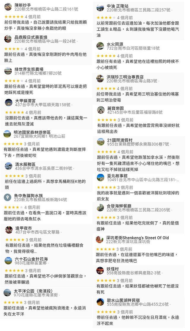 「百種GoogleMap上詛咒前任的方式」 怨念超深! | (翻攝GoogleMap,網友路易士提供)