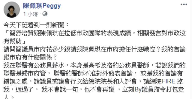 (翻攝臉書 陳佩琪Peggy)
