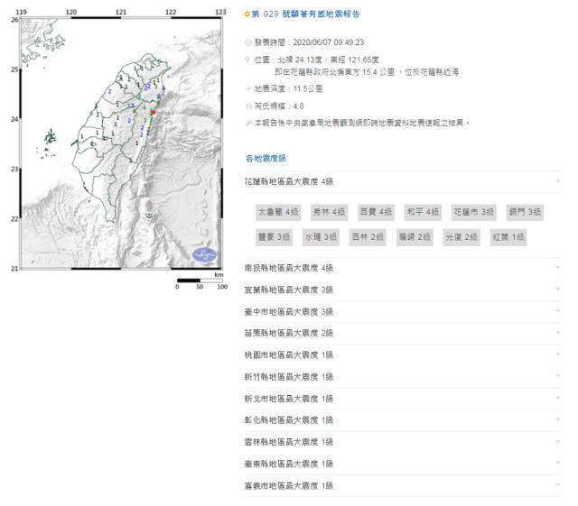 花蓮09:49規模4.8有感地震 搖晃時間近3秒 |