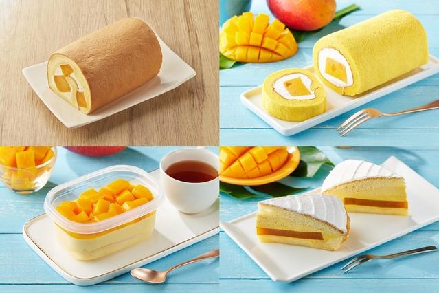 芒果生乳捲(左上)、芒果奶凍捲(右上)、芒果盆子(左下)、芒果波士頓派(右下)