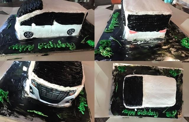 原PO收到的汽車造型蛋糕。(翻攝/臉書社團「爆笑2公社」)