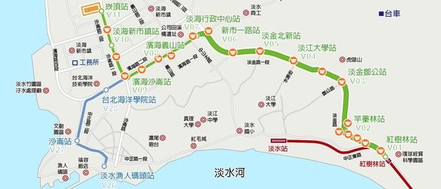 淡海輕軌路線圖,綠線為已通車營運路線。(新北市政府捷運局提供)