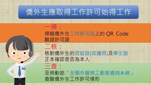 僑外生申請工作許可打工 暑假工時不限每週20小時   僑外生應取得工作許可使得工作。(勞動部勞動力發展署提供)