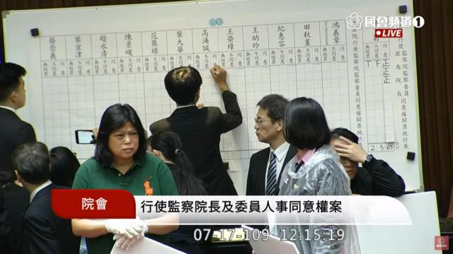 陳菊獲65張同意票(翻攝國會頻道)