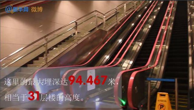 重慶軌道10號線的「紅土地站」深度達94.467公尺,相當於地下31層樓。(翻攝自新華網微博)