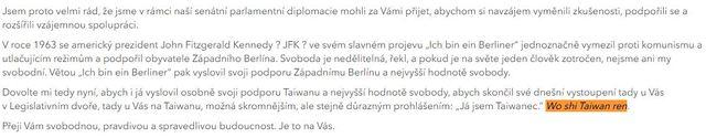 捷克參議院公布的演說全文中,「我是台灣人」這句話,由於韋德齊是以中文說出,演講稿也特別以標音註解「Wo shi Taiwan ren」。(捷克參議院提供)