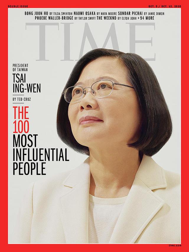 總統蔡英文獲選美國《時代雜誌》年度百大最具影響力人物名單。(翻攝/《時代雜誌》官網)