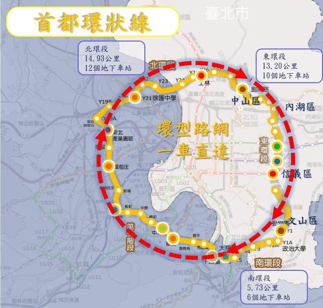 雙北爭環狀線經營權 北市:9/17函請交通部釋示 | 台北市環狀線圖。(台北市政府提供)