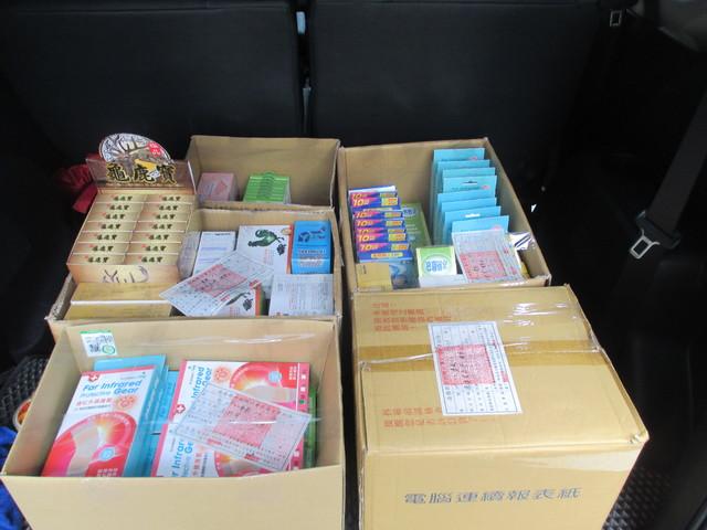 執行署扣回各類保健食品總計47項物品,市值約6萬元。(執行署提供)