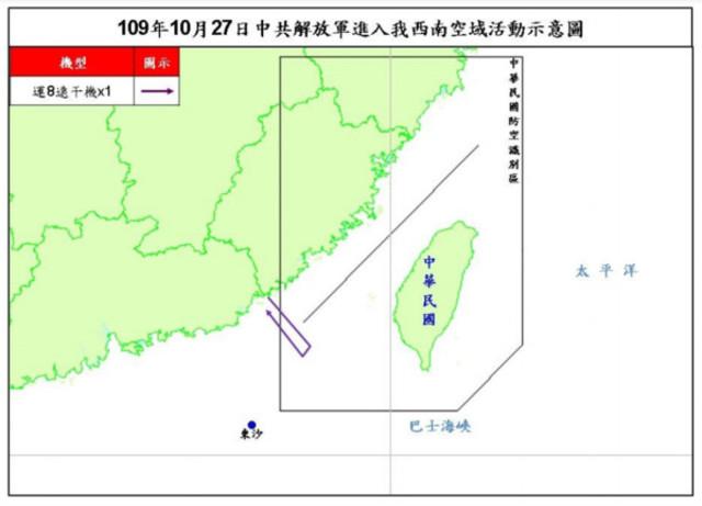 快訊》共機又侵台西南空域 10月累計擾台21次  
