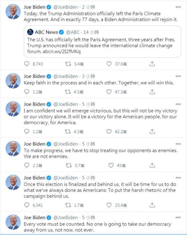 拜登自早上起連發多則推特。(翻攝自 Joe BidenTwitter)