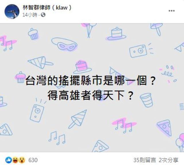 律師林智群也好奇在臉書上詢問「台灣的搖擺縣市是哪一個?」(翻攝自林智群臉書)