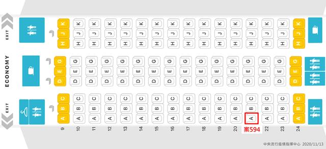 (案594班機座位圖,中央流行疫情指揮中心提供)
