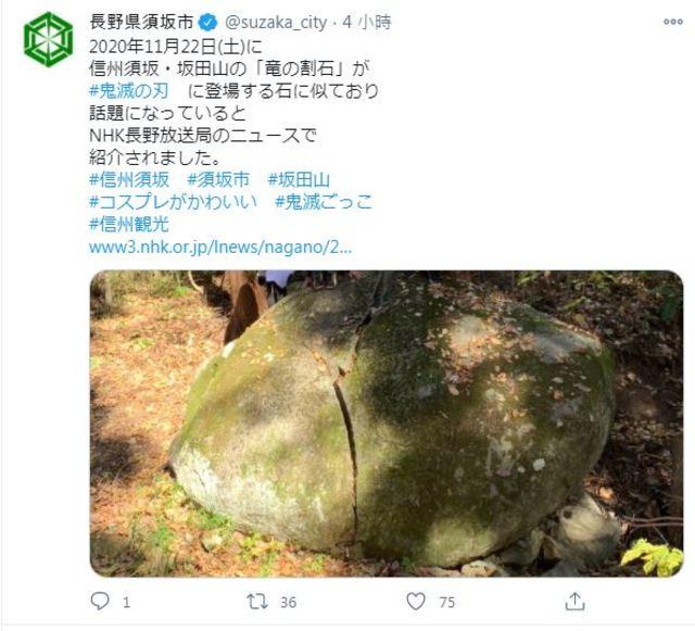坂田山共生之森步道旁的「龍之裂石」近日暴紅。(翻攝自Twitter)