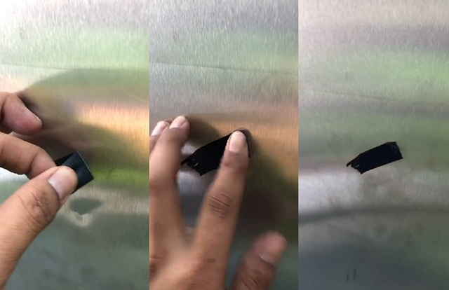 立委稱門板有洞部份,台鐵檢查結果是黑色膠帶。