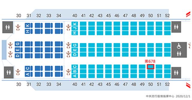 案678班機座位圖/翻攝自中央流行疫情指揮中心