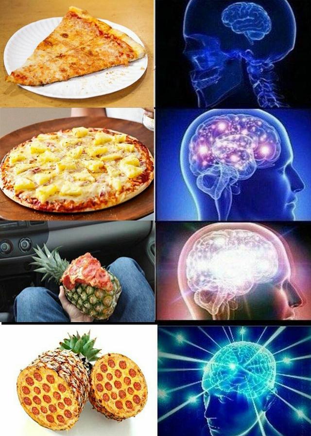夏威夷披薩迷因,網友創作。(翻攝網路)