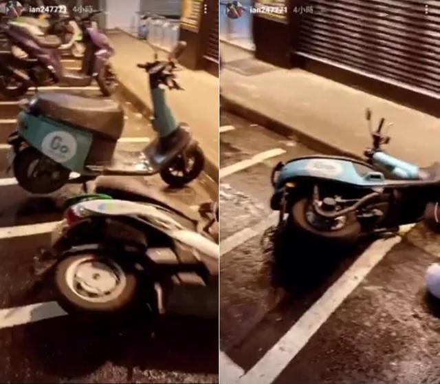 陳彥允自PO在路邊踹倒共享機車的影片。(翻攝畫面)