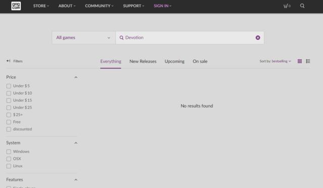 GOG商店以找不到《還願》。(平台網頁)