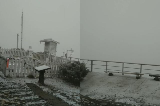 玉山21日上午8點多降下首場初雪(合成圖/中央氣象局提供)