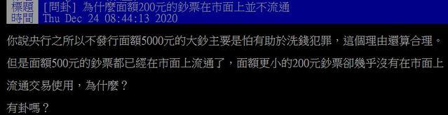 一名網友好奇在PTT上發問「為什麼面額200元的鈔票在市面上並不流通?」(翻攝自PTT)