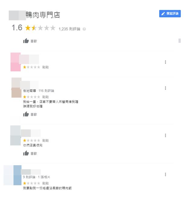 鴨肉店辱外送員嗆「沒被打過」 Google評論遭洗1星負評 | (翻攝Google評論)