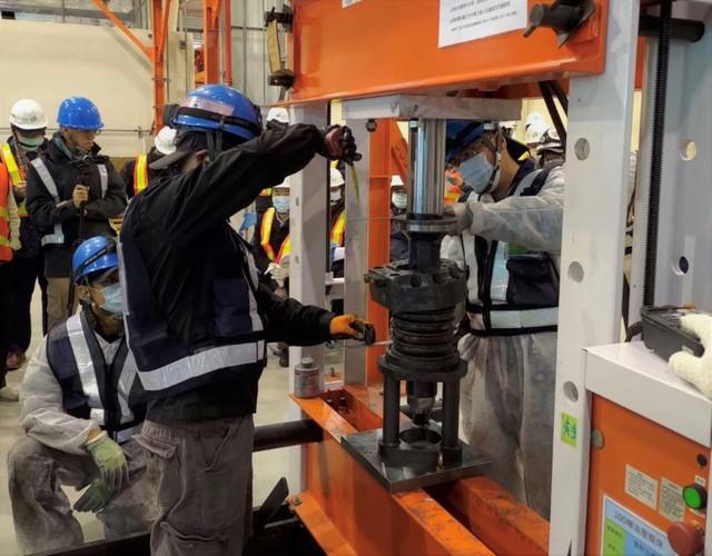 捷運綠線新軸心組裝作業已如期完成。(中捷公司提供)