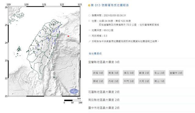 今凌晨連續發生兩個地震。(中央氣象局提供)