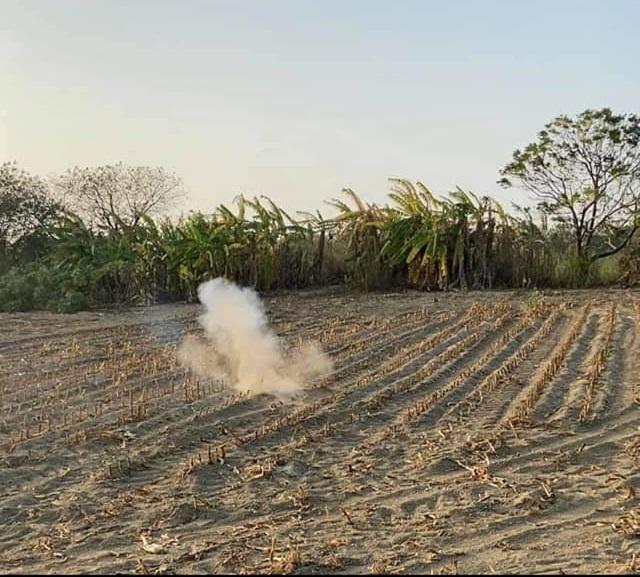 綠鬣蜥被放到農地上引爆。(翻攝臉書社團「爆怨公社」)