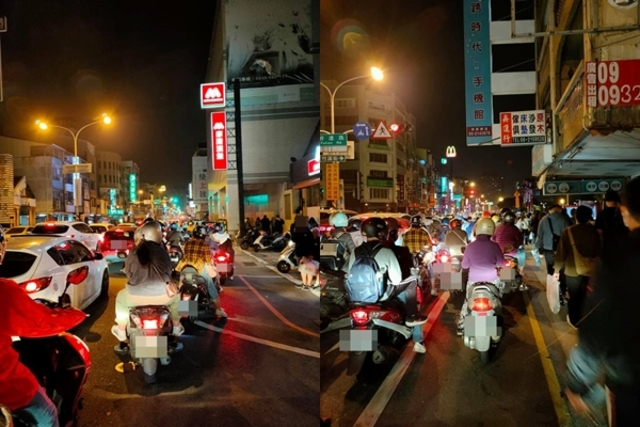 (五月天演唱會周邊交通壅塞。/翻攝自臉書社團「台南爆料公社-台南最大社團」。)