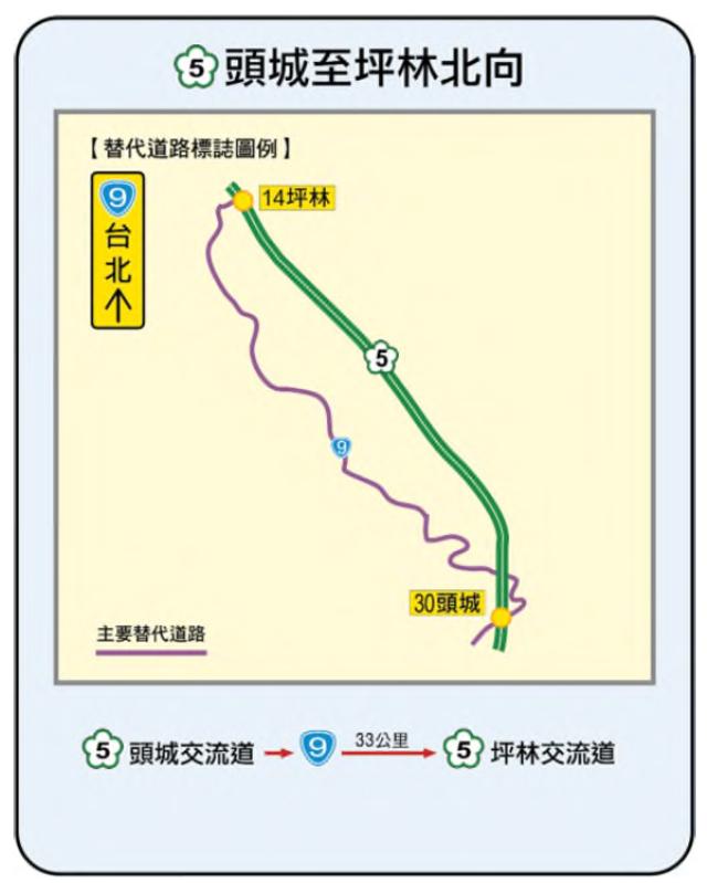 國5 頭城-國5 坪林北向替代道路圖。(高公局提供)